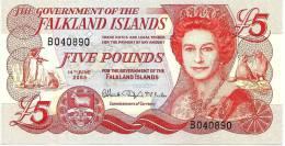 FALKLAND ISLANDS 5 POUNDS RED QEII HEAD FRONT BUILDINGS CHURCH BACK DATED 14-06-2005 UNC P.NEW READ DESCRIPTION!!!!! - Falkland Islands