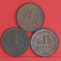 PORTUGAL  1  CENTAVOS  1917,1918,1920   KM# 565  -  3 COINS  (M944) - Portugal