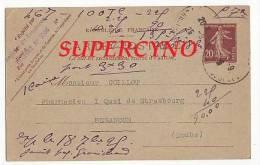 CARTE POSTALE ENTIER POSTAL COMMANDE DE THE TAMPON COOPERATIVE DES PHARMACIENS DE L'EST - Postcards