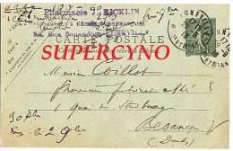 CARTE POSTALE ENTIER POSTAL COMMANDE DE THE LORRAIN TAMPON PHARMACIE RICKLIN LUNEVILLE - Postcards