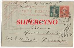 CARTE POSTALE ENTIER POSTAL COMMANDE DE THE DES VOSGES TAMPON PHARMACIE DU LION DE BELFORT J.ARNOLD - Postcards