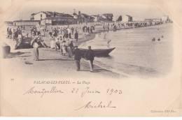 PALAVAS LES FLOTS . LA  PLAGE . DOS SIMPLE  1903. TIMBRE GRIS VERT 1 C.   TRES ANIMEE - Palavas Les Flots