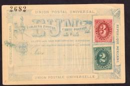 O)1880 MEXICO, POSTAL STATIONARY NUMERALITOS 1880, 3 AND 2 CTS - Mexico