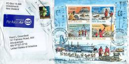 Antarctic Research Souvenir Sheet And  Surcharged 8 C. On 4 C Puriri Moth On Air Letter To USA - Covers & Documents