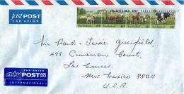 40 C Animals Strip Of 4  - Sheep, Deer, Horses, Cows On Air Letter To USA - Covers & Documents