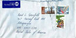 $1.50  America Cup Challenge, 30 C Dunedin Railway Station, 20 C Family At Play  On Air Letter To USA - Covers & Documents