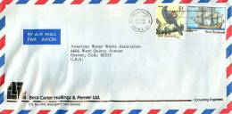 $1 Bird Definitive,  50 C Endeavour Sailing Ship    On Air Letter To USA - Covers & Documents