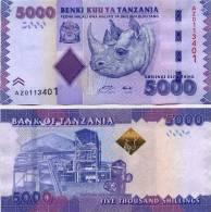 "TANZANIA  5.000  SHILLING  2.010  2010  SC/UNC/PLANCHA    ""RINOCERONTE""     DL-9840 - Tanzania"