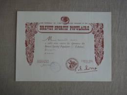 Brevet Sportif Populaire 2e échelon Narbonne Le 23 Mai 1952. - Diplomas Y Calificaciones Escolares
