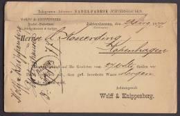 ## Deutsche Reichpost NADELFABRIK JCHTERHAUSEN 1872 Postkarte To KOPENHAGEN Dänemark Denmark (2 Scans) - Briefe U. Dokumente