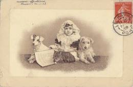 Animaux - Chiens Jack Russel Griffon -  Chat - Enfant  Fillette - Postmark Cachet Le Havre 1908 - Chiens
