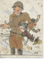 France Militaria 2ème Guerre Mondiale Hitler Recevant La Fessée  Trous D'épingle Et Carte Avec Pliure - France