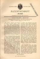Original Patentschrift - G. Wagner In Metzingen , 1889 , Tranportable Fräsmaschine , Fräse !!! - Máquinas