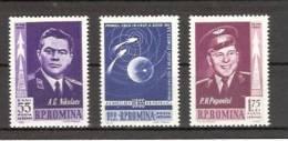 Roumanie 1962  YT 157 à 159 **  1° Vol Spatial Groupé - Nikolaïev - Popovitch  Vostok 3 Et 4