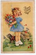 Illustrateur Luce Andre... Bonne Fête - Fillette Au Bouquet, Chien Et Brouette - Illustrators & Photographers