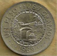 DOMINICAN REP 1 PESO 125 YEARS IND EMBLEM FRONT BUILDING BACK 1969 KM33 UNC READ DESCRIPTION CAREFULLY !!! - Dominicana