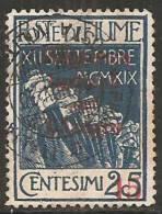 Fiume - Regg. Italiana Del Carnaro - 15 Su 25c Usato - 9. Occupazione 2a Guerra (Italia)