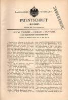 Original Patentschrift - G. Pfrommer In Uhlbach B. Stuttgart , 1899 , Sofa In Dampfschwitzbett Umwandelbar !!! - Meubels