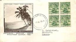 SAMOA 1935 Pictorial  ½d  SG 180  Block Of 4 FDC To Canada - Samoa
