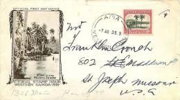 SAMOA 1935 Pictorial  1d  SG 181  FDC To USA - Samoa