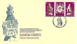 1978  25 Ann Queen Elizabeth II Coronation Strip Of 3 FDC - Samoa