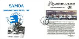 1989  Apia Hurricane Centenary  Souvenir Sheet  Unaddressed FDC - Samoa