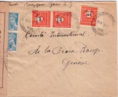 GUERRE 39-45 - BEAUMONT DE LOMAGNE TARN ET GARONNE 19-3-1945 -BANDE ET CACHET CENSURE LYZ LETTRE POUR GENEVE. - Postmark Collection (Covers)