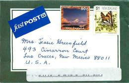 $1 Butterfly, 50 C Mt Ngauruhoe  On Air Letter To USA - Covers & Documents