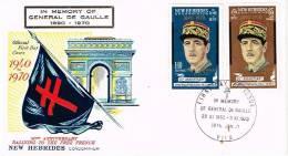Vanuatu Ex Nouvelles Hebrides Enveloppe Premier Jour FDC General De Gaulle Croix Lorraine Drapeau Deces 1970 Us Courant - Vanuatu (1980-...)