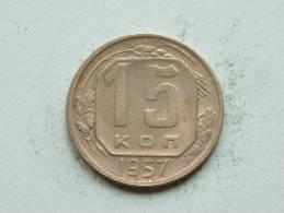 1957 - 15 KOPEKS / Y # 124 ( Uncleaned - For Grade, Please See Photo ) ! - Russie