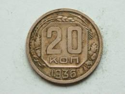 1936 - 20 KOPEKS / Y # 104 ( Uncleaned - For Grade, Please See Photo ) ! - Russie