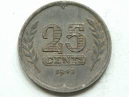 1941 - 25 CENT / KM 174 ( Uncleaned - For Grade, Please See Photo ) ! - [ 3] 1815-…: Königreich Der Niederlande