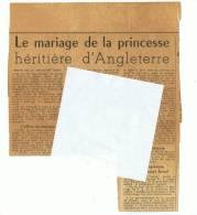 Coupure De Presse Du Gard      Le Mariage  De La Princesse Elizabeth - Documents Historiques