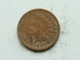 1907 - 1 CENT / KM 90a ( Uncleaned - For Grade, Please See Photo ) ! - 1859-1909: Indian Head
