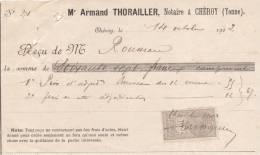 RECU  De Notaire   Oct 1902  Timbre Quittance De 10 C. - 1900 – 1949