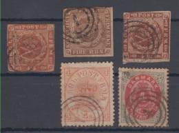 Denmark Michel Catalogue #1,4,7,13,18I 1851,1854,1858,1864,1870 USED - 1851-63 (Frederik VII)