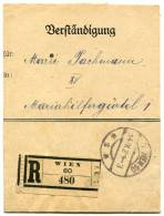 Verständigung Postformular WIEN 60 Einschreiben Reko 14.9.1921 (034) - Covers & Documents