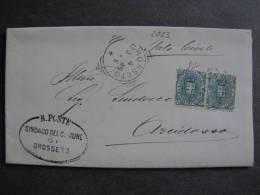 """ITALIA Regno-1891-96- """"Stemma"""" C. 5 Coppia GROSSETO>ARCIDOSSO (descrizione) - 1878-00 Umberto I"""