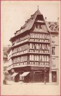 Attention  Photo Fin 19e (dim 9.5 X 14) Collée Sur Carton - STRASBOURG -  Maison Kammerzell - Lieux