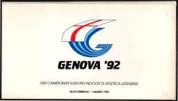 ATHLETICS - ITALIA 1992 - GENOVA '92 - XXII CAMPIONATI EUROPEI INDOOR D'ATLETICA LEGGERA - FOLDER FIDAL CON 12 CARTOLINE - Atletica