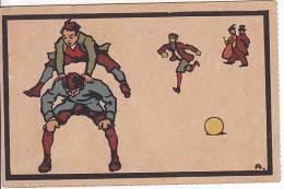 Artist Signed A. Boys Playing Soccer  & Traditional Games Vintage Original  Postcard Ca1900 Ak Cpa [WIN3_382] - Ilustradores & Fotógrafos