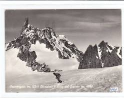 PO4607# VALLE D'AOSTA - COURMAYEUR - GHIACCIAIO E DENTE DEL GIGANTE - ALPINISTA SCIATORE - CLUB ALPINO  VG 1959 - Italia