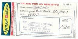 PO4762# BIGLIETTO CONCERTO SPETTACOLO BATTIATO - PELLERINA - TORINO 2001 - Biglietti Per Concerti