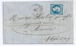 N° 14 BLEU NAPOLEON SUR LETTRE / ROQUEMAURE GARD POUR BEAUNE / 20 DEC 1861 - 1849-1876: Période Classique