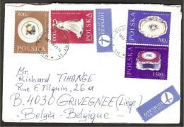 POL. Yv 3093/95+3097 Porcelaines S/Ltt Par Avion De Tarnowskie Géry Vers Liège 1991 - Lettres & Documents