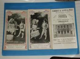 2 Cartes Publicitaires GRENOBLE Fabrique De Gants De Peau Maison FAVEL Format 18 Par 10cm - Grenoble
