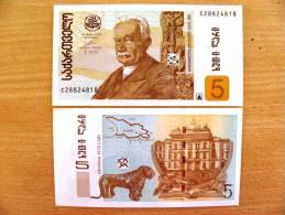2002 Year 5 Lari Unc Banknote From Georgia #70, University, Map, Lion - Géorgie