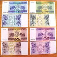 2 Scans, 11 UNC Banknotes Set From Georgia 1993/94 Pick #43/52, 250/1million (laris) Coupons - Géorgie