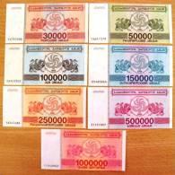 7 UNC Banknotes Set From Georgia 1994 Pick #47/52, 30 000/1 Million (laris) Coupons - Géorgie