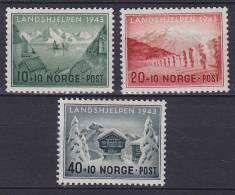 ## Norway 1943 Mi. 292-94 Norwegische Landeshilfe Complete Set MH* - Ungebraucht